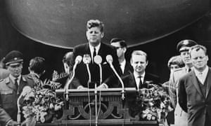 "President John F Kennedy delivers his ""Ich bin ein Berliner"" speech in West Berlin, 1963."