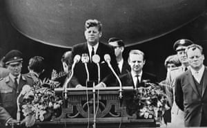 """John F Kennedy delivers his famous speech """"I am a Berliner"""" (""""Ich bin ein Berliner"""") in front of the city hall in West Berlin about the Berlin Wall, on 26 June 1963"""