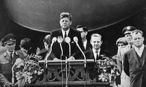 "President John F. Kennedy delivers his famous ""Ich bin ein Berliner"" speech in front of the city hall in West Berlin, 26 June1963."