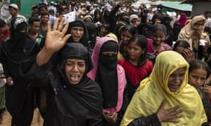 Rohingya women protest on the first anniversary of the Rohingya crisis