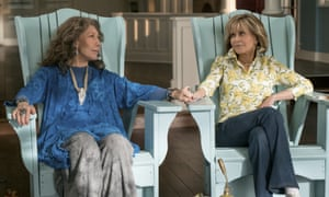 """Lily Tomlin and Jane Fonda in a scene from the comedy series """"Grace And Frankie."""""""