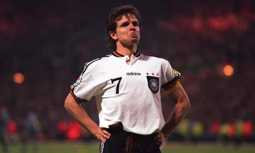 Andreas Möller milks the moment after scoring Germany's winning penalty against England in the Euro 96 semi-final