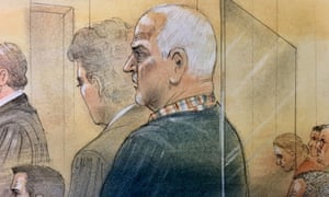 Bruce McArthur attends court, where he pleaded guilty to eight counts of murder, in a sketch by a courtroom artist in Toronto, Canada on 29 January.