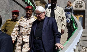 The UN special envoy for Yemen, Martin Griffiths, leaves after meeting with the leader of the Houthi Revolutionary Committee, Mohammed Ali al-Houthi, in Sana'a, Yemen, at the weekend.