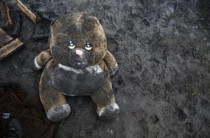A toy bear lies on the ground at the refugee camp near Idomeni, Greece.