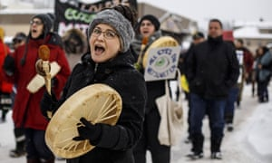 Supporters of the Wet'suwet'en hereditary chiefs who oppose the Coastal GasLink pipeline take part in a rally in Smithers, British Columbia, last month.