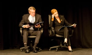 John Gaden and Heather Mitchell perform in The Hansard Monologues: The Age of Entitlement.