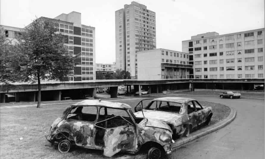 Burnt out cars on the Broadwater Farm estate after the riots in 1985.