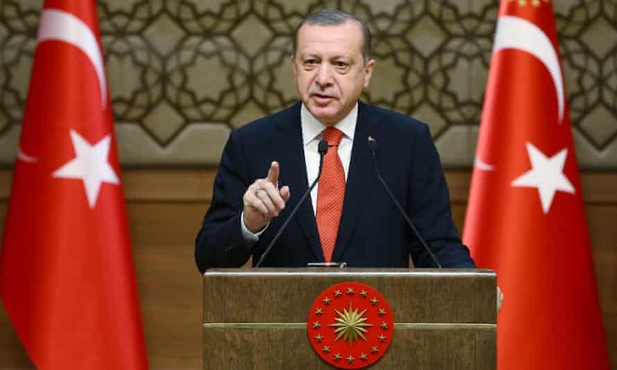 Turkish President Recep Tayyip Erdoğan speaking in  Ankara on Wednesday