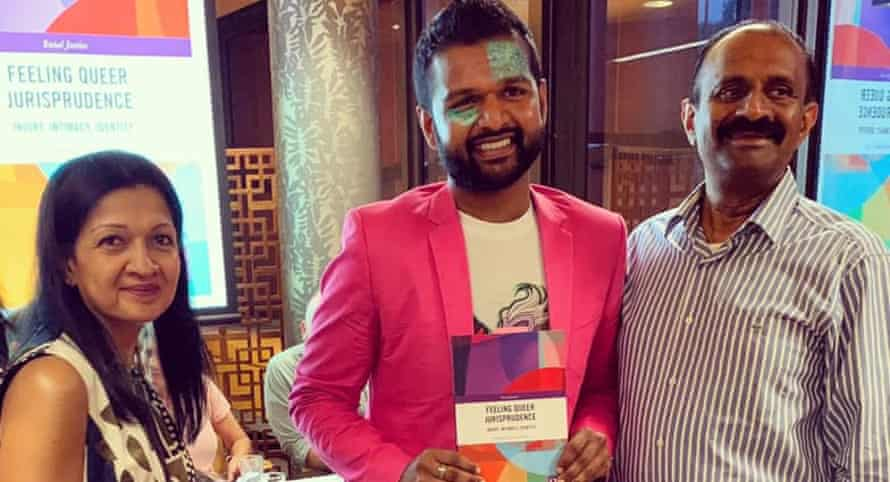 Senthorun (centre) with his parents Ramani (left) and Sunil (right) at the launch of his book Feeling Queer Jurisprudence before lockdowns began.