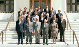 The Hawke ministry in 1984 on the steps of Parliament House, Canberra