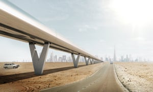 An artist's impression of how the Hyperloop overground system might look.