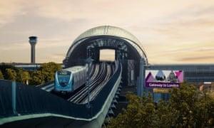 An artist's impression of the Luton light rail link.
