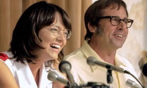 Game on … Emma Stone as Billie Jean King and Steve Carell as Bobby Riggs in Battle of the Sexes.