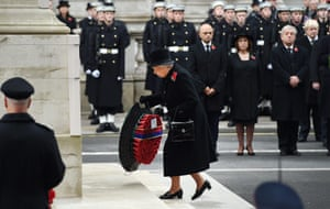 Queen Elizabeth II lays a wreath at the Cenotaph in November 2014.