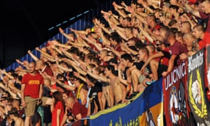 Sparta Prague fans give the Nazi salute at a game against CSKA Moscow in August 2015.