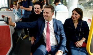 The NSW transport minister, Andrew Constance, centre, was on the receiving end of a Jones reprimand over windfarms