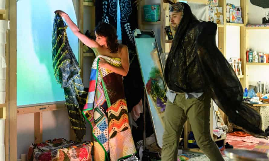 Dancers find their costumes in a scene from Caen Amour.