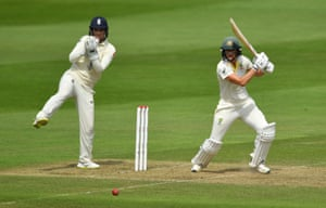 Ellyse Perry of Australia in action as she hits two boundaries off the over.