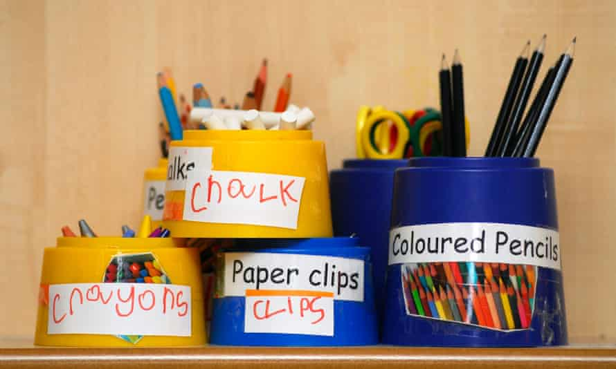 Stationery items on display in a nursery school.