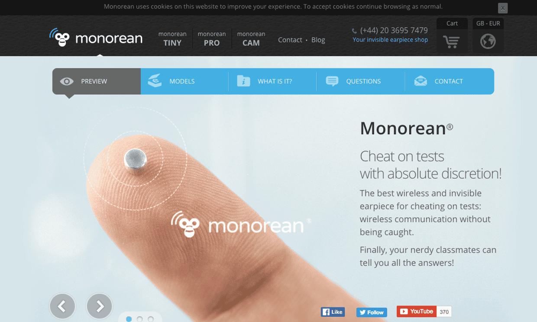 Monorean's website. Photograph: PR