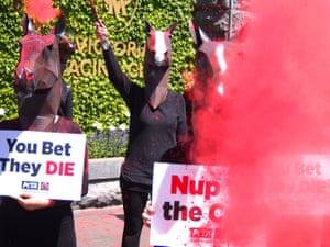 Melbourne Cup protestors gathered outside the racing club.