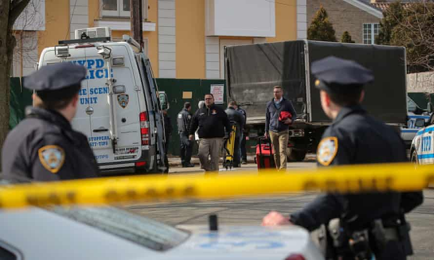 NYPD officers investigate the scene where Francesco 'Franky Boy' Cali was killed in New York.