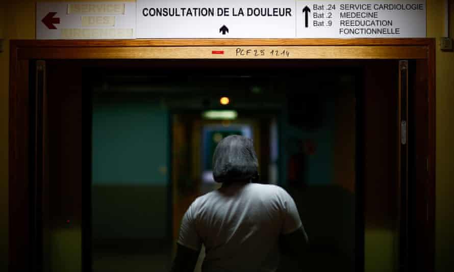 A nurse walks at the Robert Ballanger hospital in Aulnay-sous-Bois near Paris.