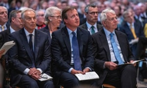 Britain's former prime ministers Tony Blair, David Cameron and Sir John Major attend a memorial service for Paddy Ashdown at Westminster Abbey.