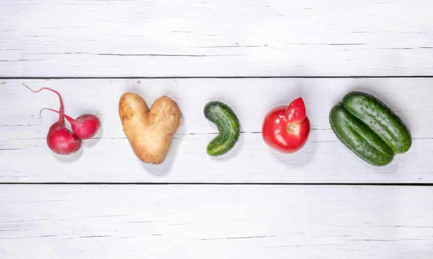 Set of five ugly vegetables: potato, tomato, cucumber and radish laid out in row on white wooden background