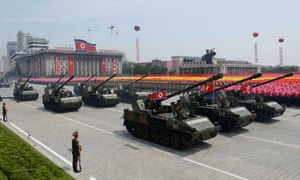 North Korean tanks in a military parade in Pyongyang. Donald Trump's wish for such a march-past was inspired by a trip to Paris.