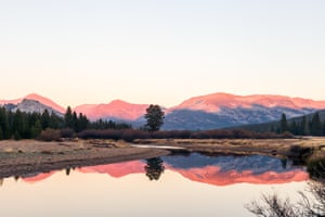 Yosemite national park, Tuolumne Meadows at sunset.