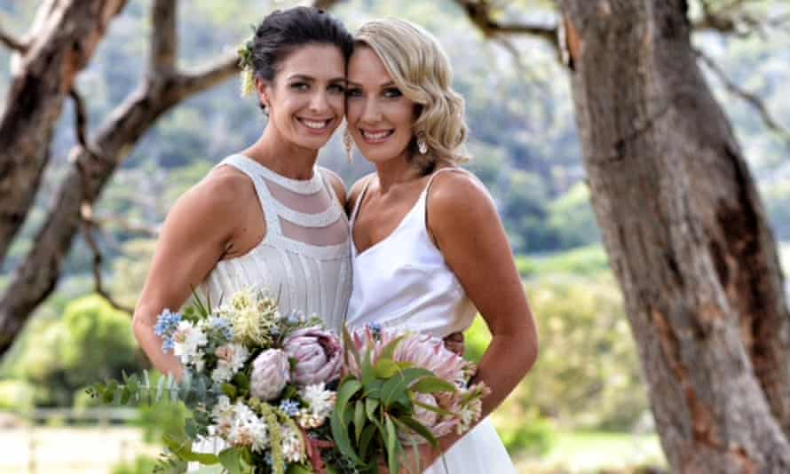 Australian netball player Ashleigh Brazill (left) and Brooke Grieves during their civil partnership ceremony in Western Australia at the weekend.