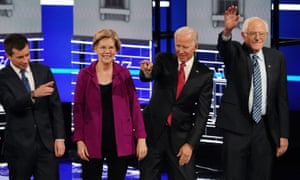 Pete Buttigieg, Elizabeth Warren, Joe Biden and Bernie Sanders at a Democratic debate in Atlanta, Georgia, on 20 November.