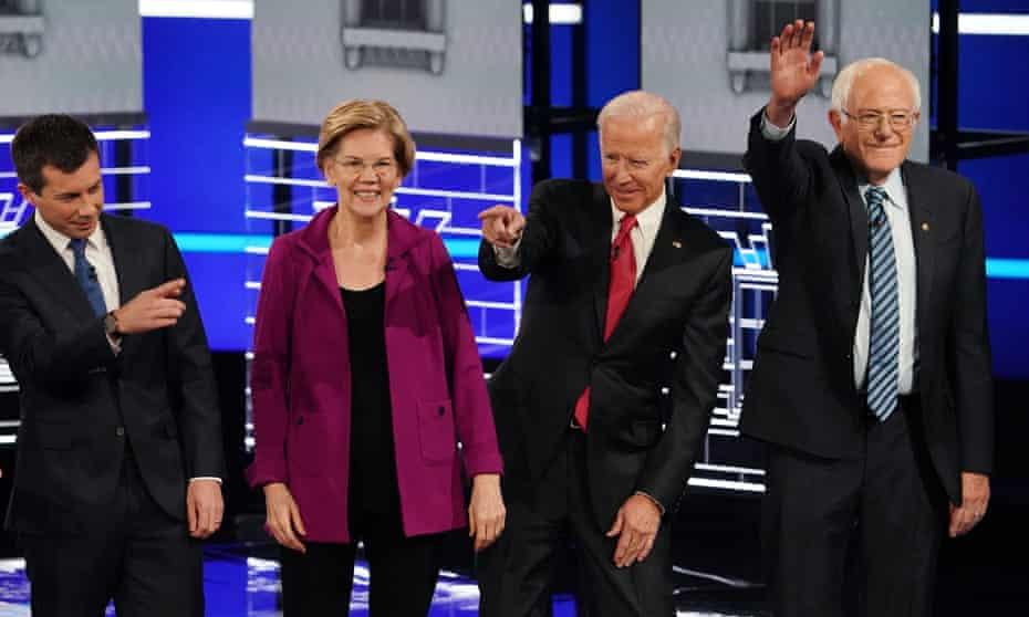 Pete Buttigieg, Elizabeth Warren, Joe Biden and Bernie Sanders at a Democratic debate in Atlanta, Georgia, on 20 November.
