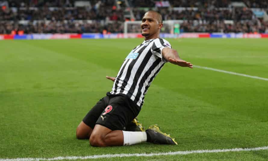 Salomón Rondón celebrates scoring Newcastle's second.