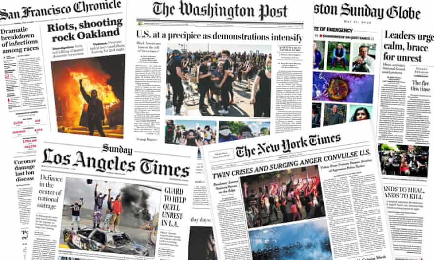 The George Floyd protests dominated the newspaper front pages in the US.