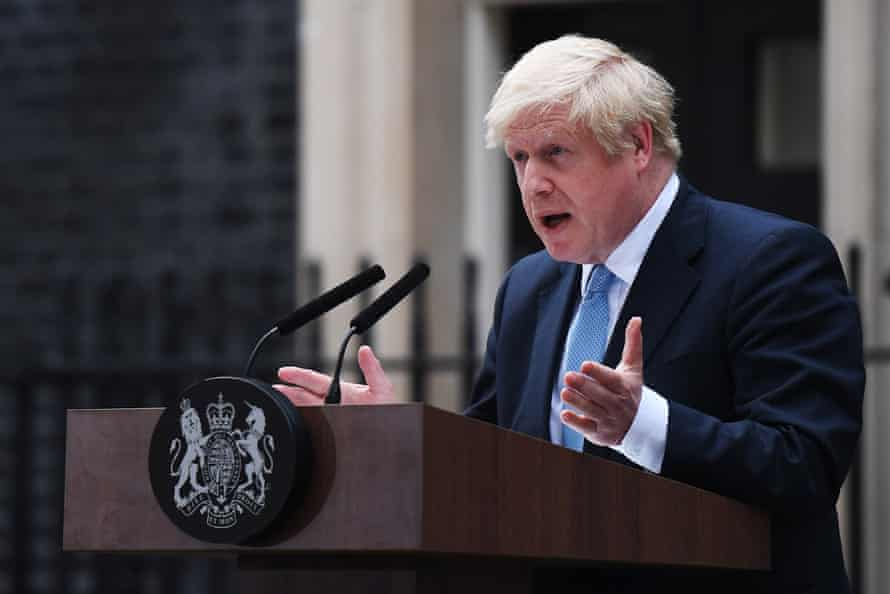 Boris Johnson delivers a speech at 10 Downing Street on 2 September