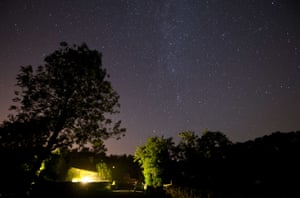 <strong>Rievaulx, UK</strong> A meteor passes across the sky during the peak in activity of the annual Perseid meteor shower