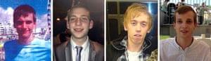 Daniel Whitworth, 21, Jack Taylor, 25, Anthony Walgate, 23, and Gabriel Kovari, 22.