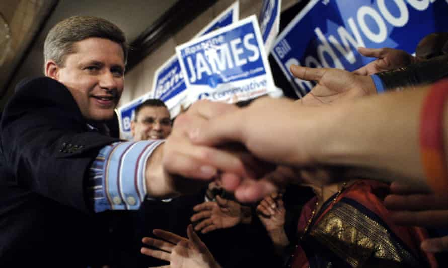Stephen Harper meets voters in Ontario during his first victorious election campaign, in 2006.