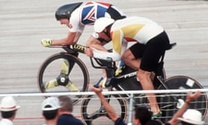 Chris Boardman (left) on his way to pursuit goal at the Barcelona Olympics in 1992.
