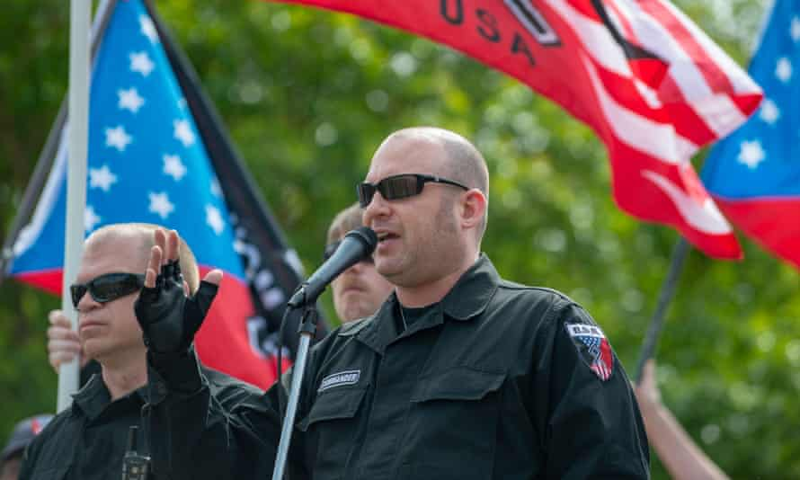 The National Socialist Movement's former leader Jeff Schoep speaking during a white nationalist rally in Georgia last year.