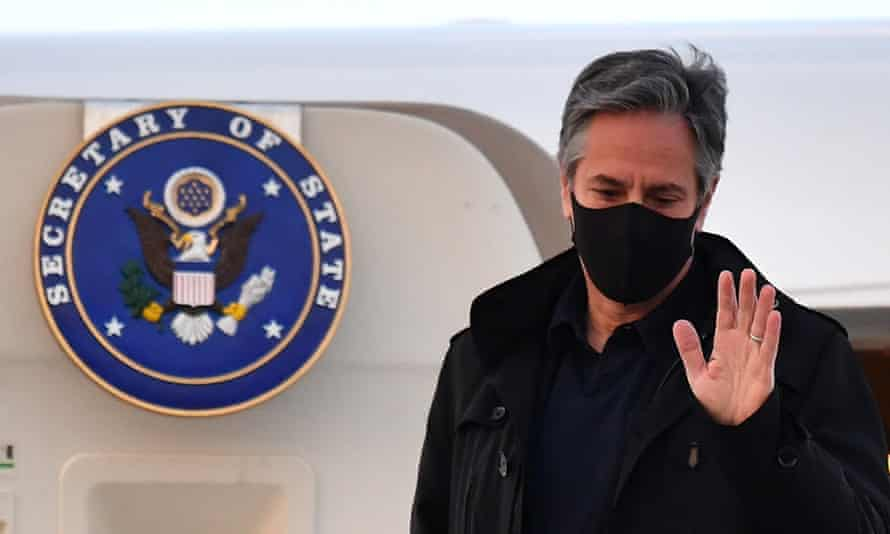 The US secretary of state, Antony Blinken, gestures after landing at Stansted airport, before the G7 meeting in London.