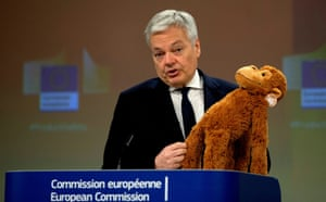 Brussels, Belgium. The European commissioner for justice, Didier Reynders, holds up a stuffed toy as he addresses a media conference on the Safety Gate rapid alert system for dangerous products at the EU headquarters