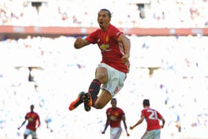 Zlatan Ibrahimovic celebrates after scoring the winner in the 2016 Community Shield
