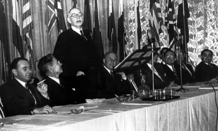 John Maynard Keynes addresses the Bretton Woods conference on postwar reconstruction and economic order in July 1944