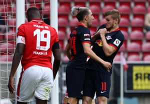 RB Leipzig's Timo Werner celebrates scoring their fourth goal with Kevin Kampl.