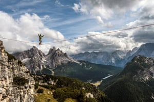 The international high line festival at Monte Piana (2,324m) in the Italian Dolomites, above the small town of Misurina.