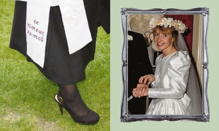 Mia Smith used her wedding dress to make a stole (left) when she was ordained as a priest.